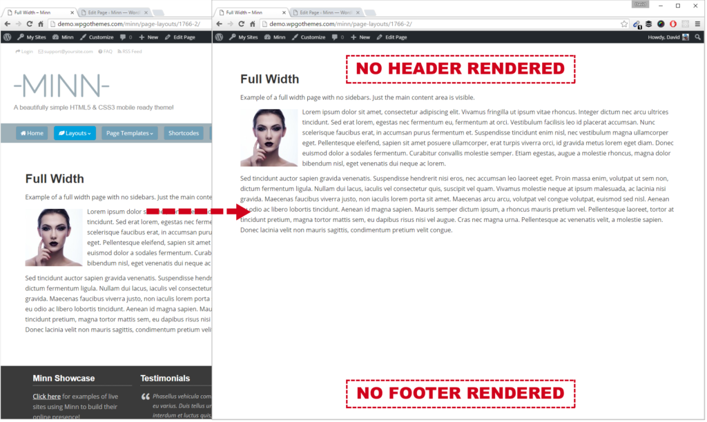 Before (left) and after (right) hiding site header/footer